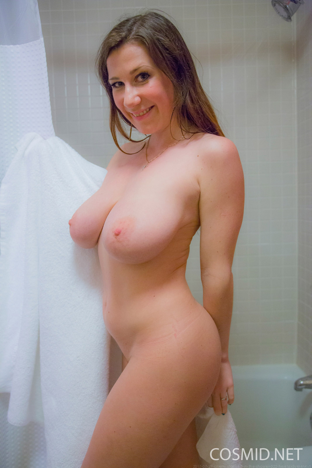 Cherry in shower naked