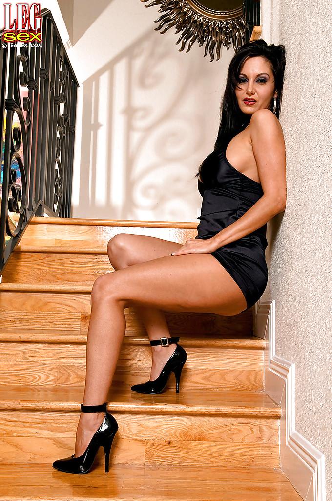 Ava Addams Black Dress and High Heels for Leg Sex