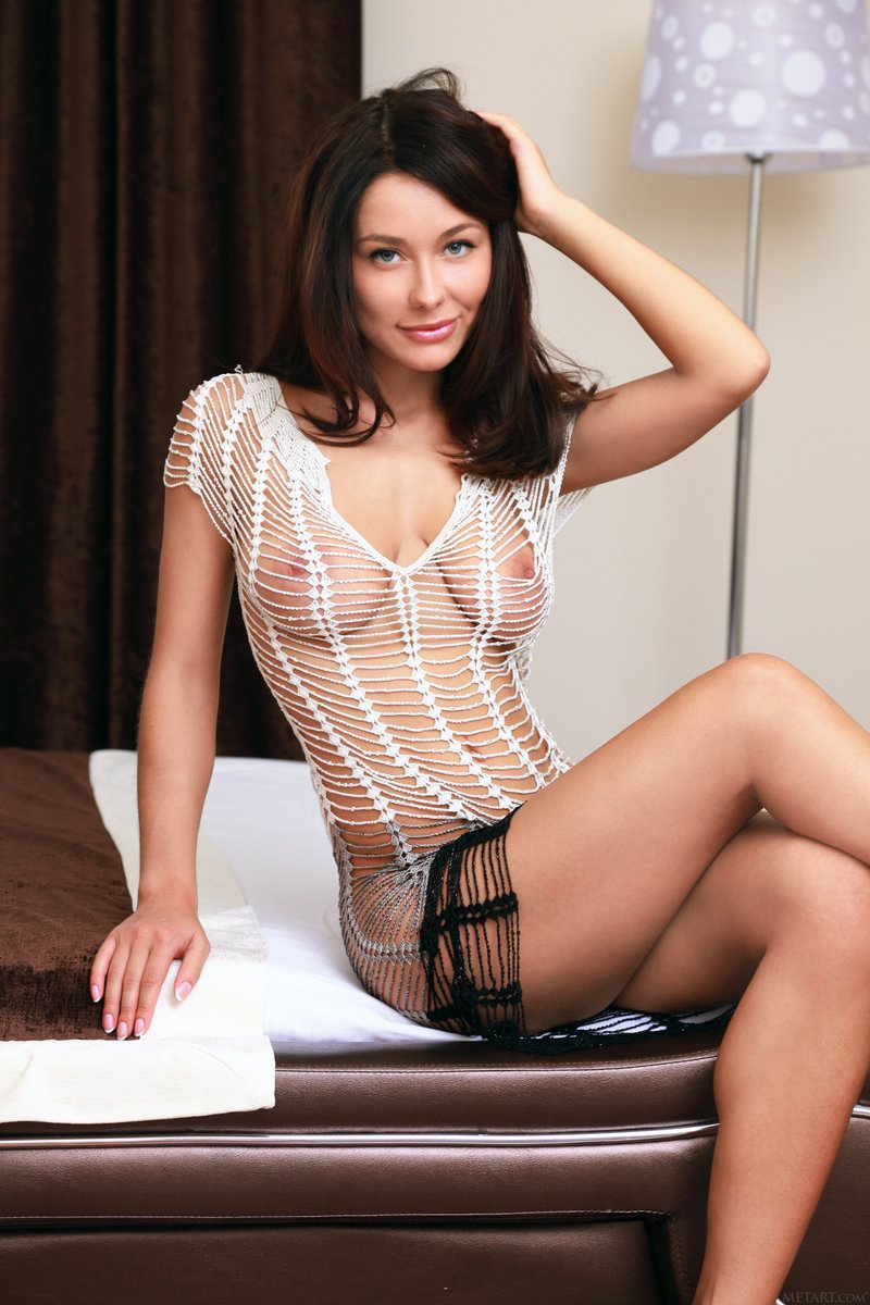 you will all love this sensational brunette in fishnet  364383