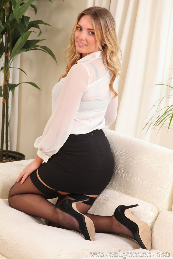 Stacey M Blonde Secretary Only Tease | Curvy Erotic