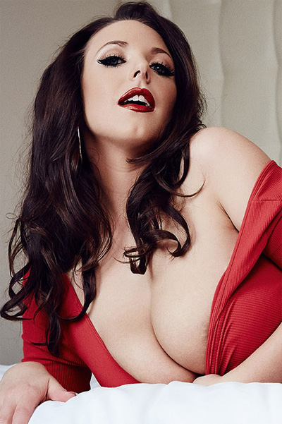 Angela White Tight Red Dress