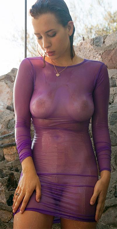 Orli Krowan See Thru Dress Showering