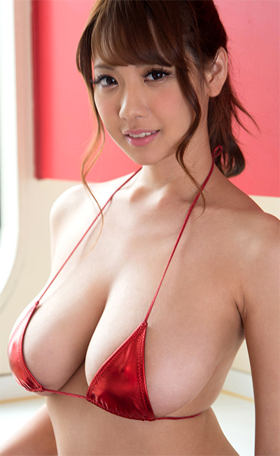 Shion Utsunomiya Red Bikini Curves for Busty Asians