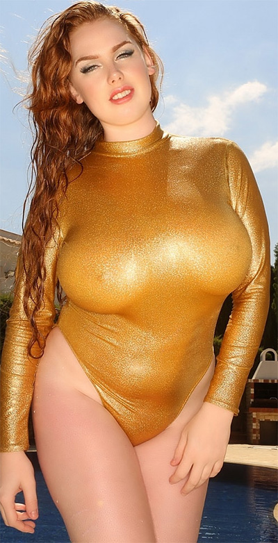Sophie Coady Gold Swimsuit Pinupfiles