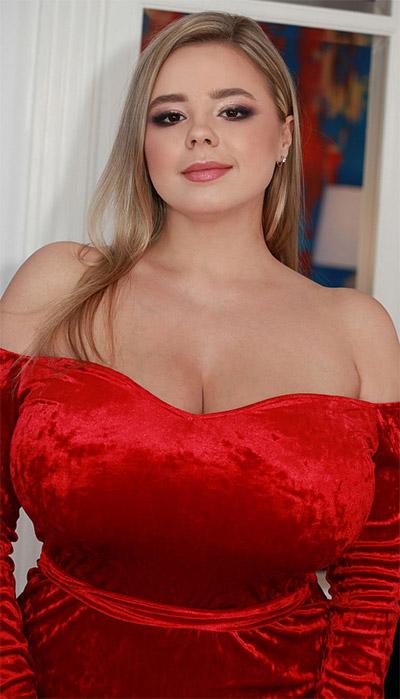 Vivian Blush Red Dress Cleavage