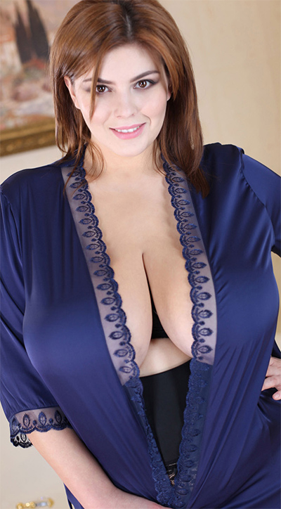 Xenia Wood Silk Robe Breasts