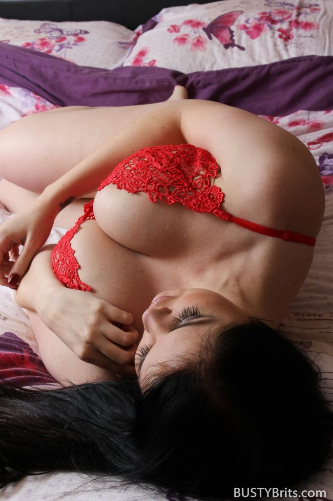 Kylie K Sleepy In Red Lingerie for Busty Brits