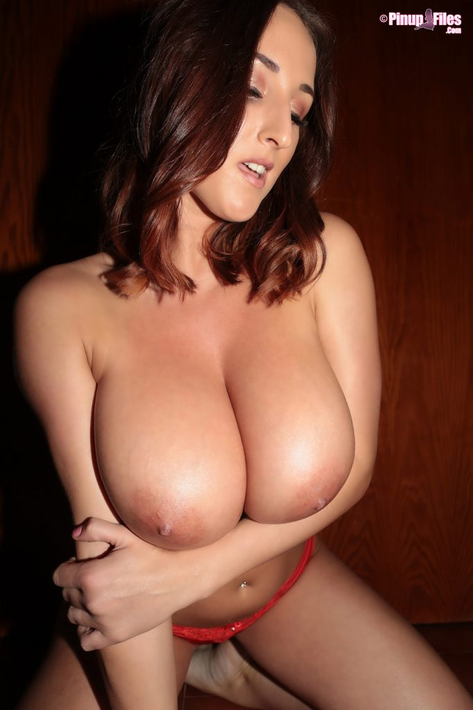 Stacey Poole Topless Red Lingerie for Pinupfiles