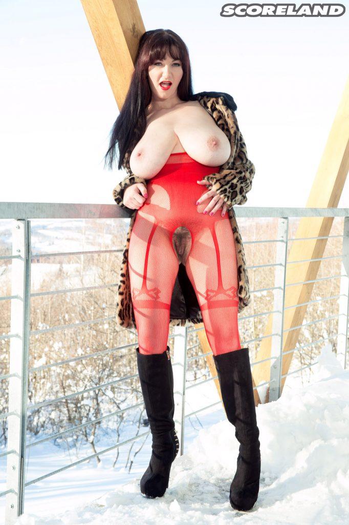 Vanessa Y Red Lingerie Snow Job for Scoreland
