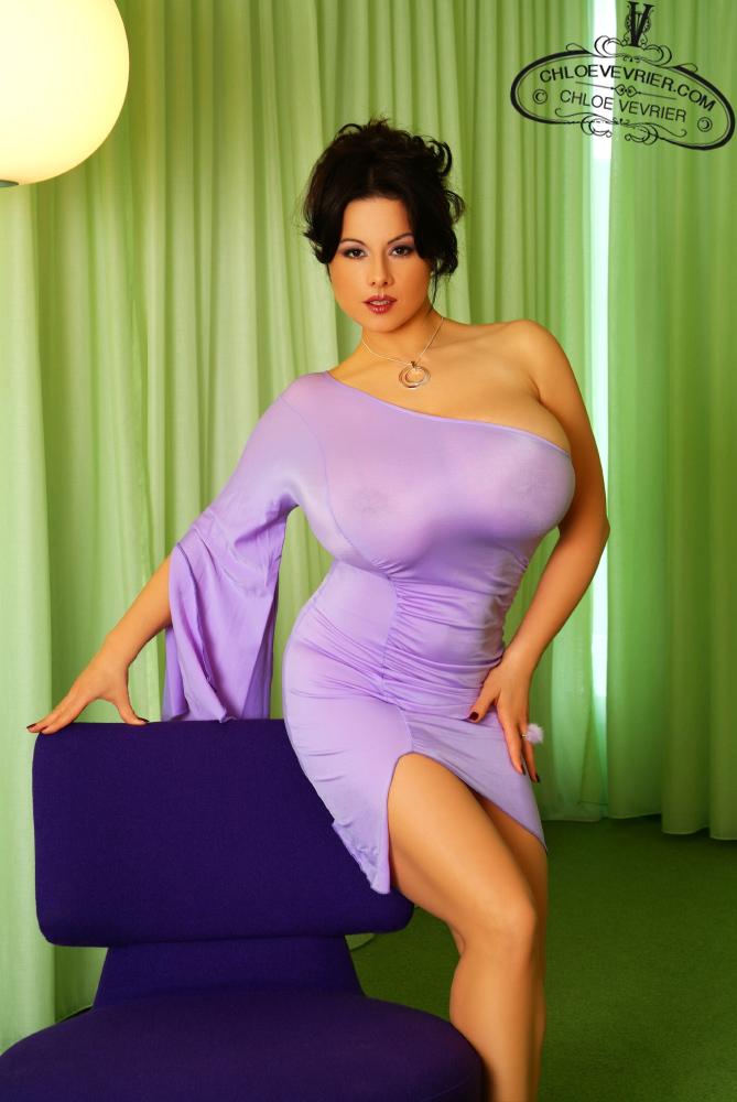 Chloe Vevrier Hot In Purple Dress - Curvy Erotic