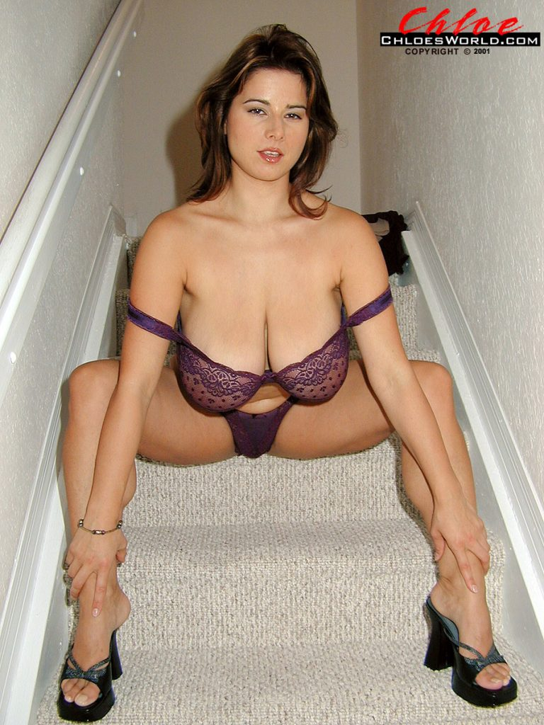 Chloe Vevrier Massive Boobs Stairs